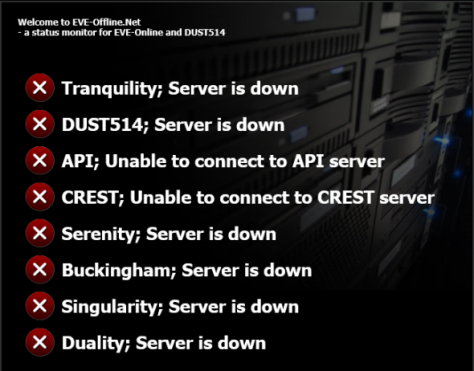 Tranquility is DOWN: Servers on FIRE!